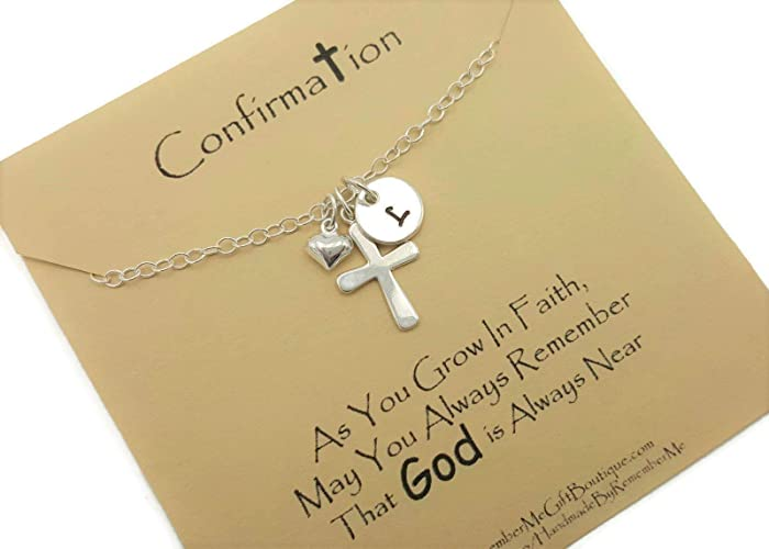 Confirmation Gift, First Communion Necklace, Idea for Goddaughter, Personalized Catholic Jewelry