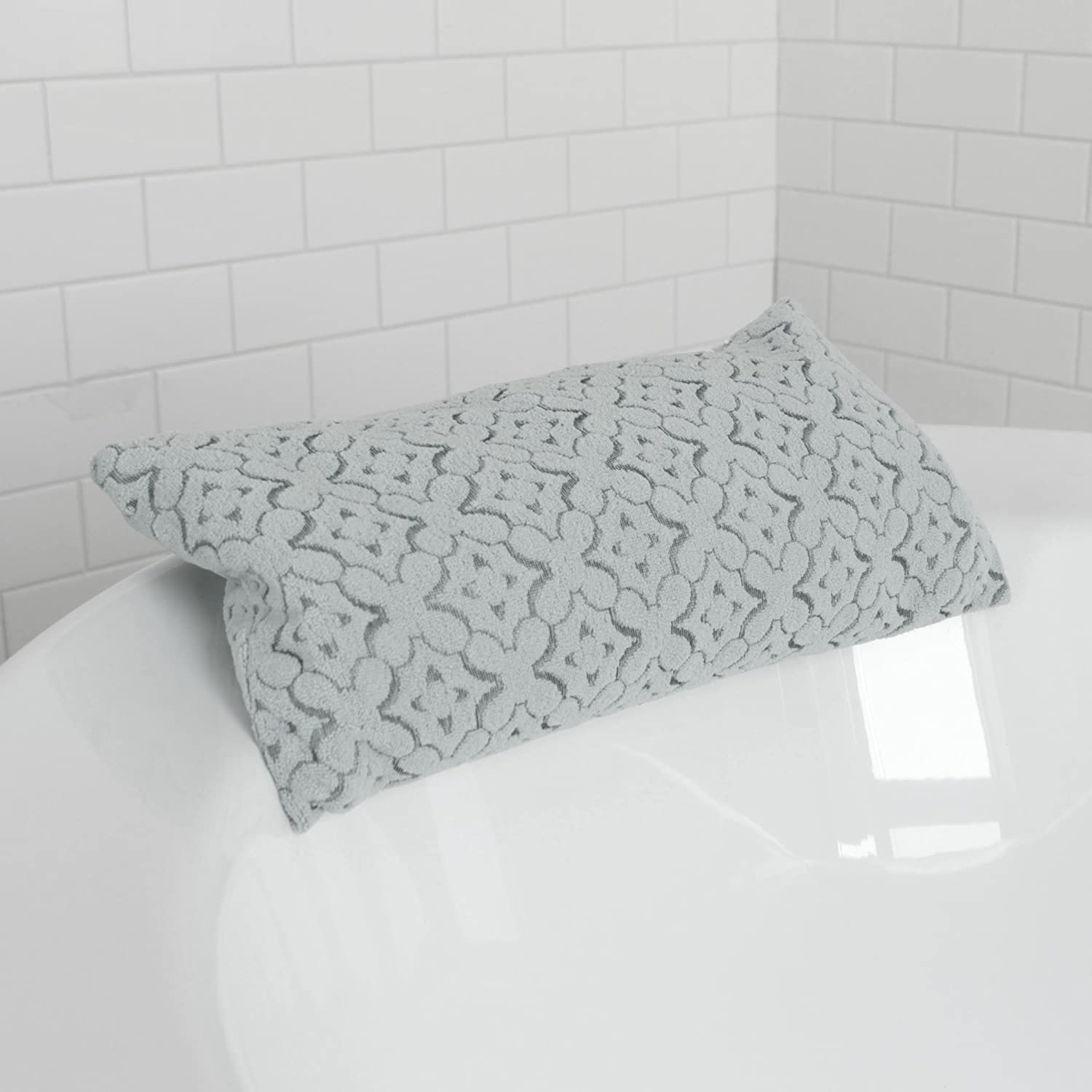 Splash Home Sharuz Beads Non Slip Bath Pillow Luxurious Cushion Spa for Bathtub, Hot Tub, Jacuzzi with 2 Strong Suction Cups, Supports Neck and Shoulders, 13.5 x 3.5 x 5.5, Silver 14SHARU/STSLVSPL