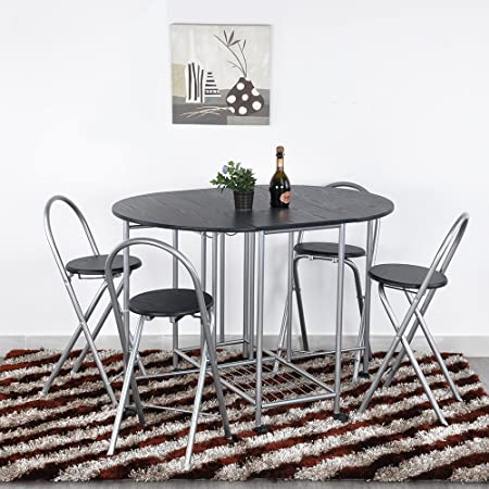 Ajie Foldable Dining Table and 4 Chairs with Movable Casters