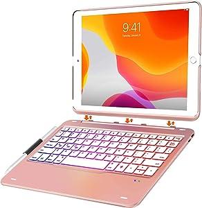 iPad 10.2 Case with Keyboard for iPad 7th Gen 2019 - iPad Air 10.5 2019 - iPad Pro 10.5 2017-343 DIY Backlits/7 Colors Backlit - Detachable Wireless Magnetic Keyboard -Smart Auto Sleep/Wake, Rose Gold