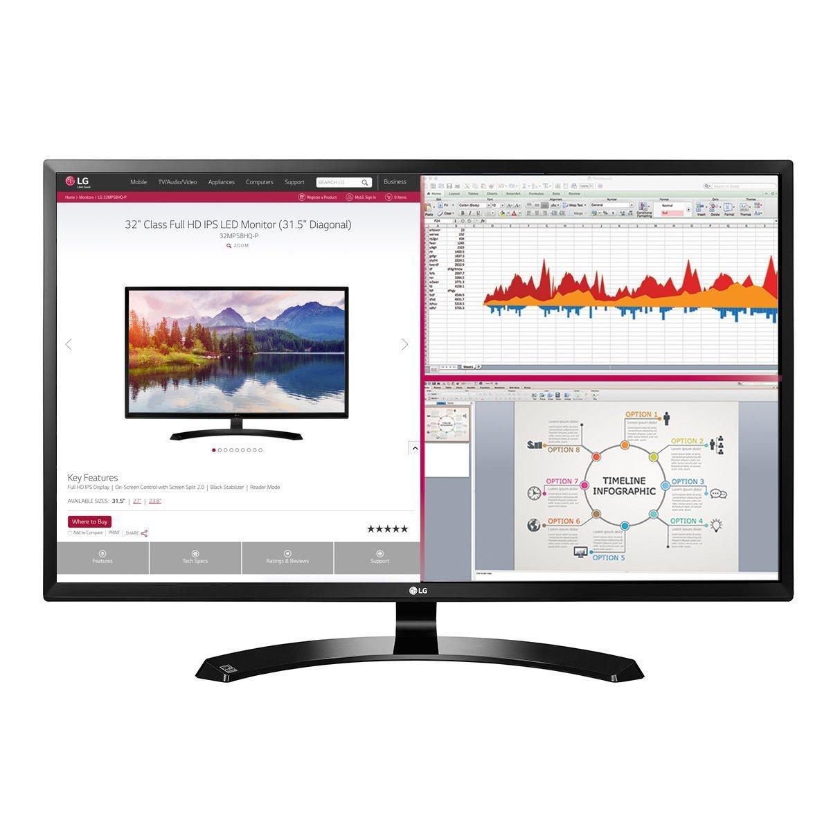 2018 LG Professional 32-Inch Full HD 1920 x 1080 IPS Monitor with HDMI, Display Port, D-Sub, On-Screen Control, Screen Split 2.0, Reader Mode, VESA Wall-Mount, Black by LG