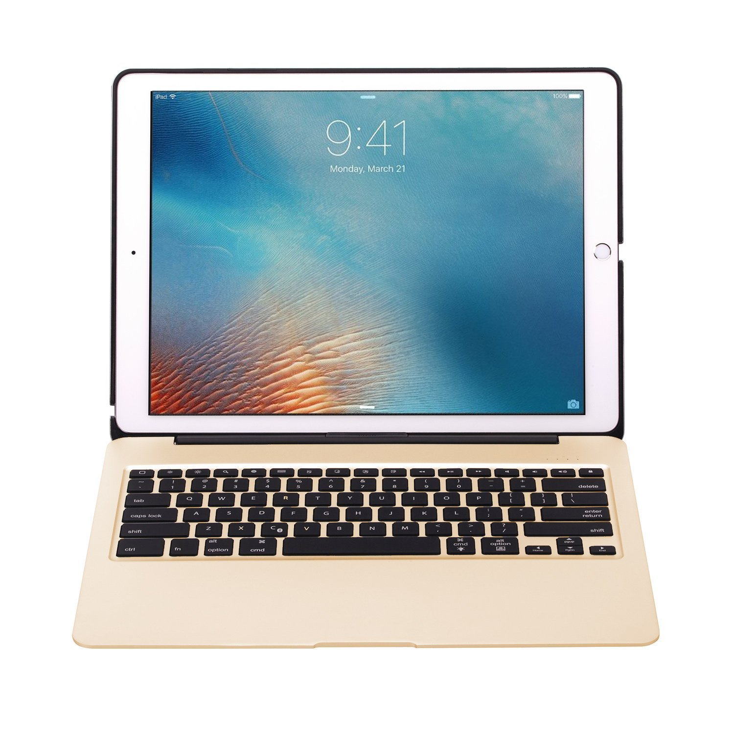 iPad Pro 12.9'' Aluminum Keyboard Case F07 with 7 Colors Backlight Backlit Wireless Bluetooth Keyboard & Power Bank (Gold) by myBitti