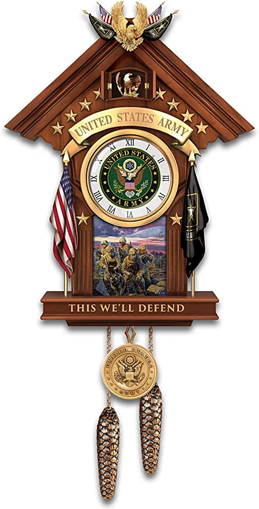 US Army Cuckoo Clock with James Dietz Artwork Plays Tune of Official Army Song by The Bradford Exchange
