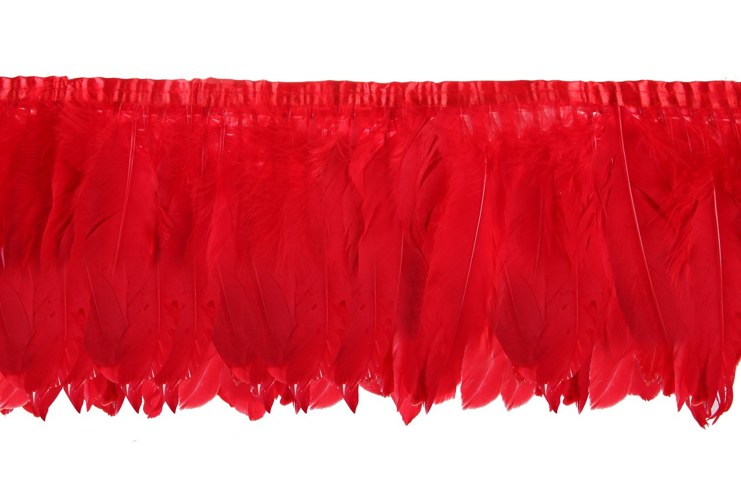 2 Yards Natural Goose Feather Trim Fringe - 6~8 inch (15~20cm) for DIY Dress Sewing Crafts Costumes Decoration (Red) VoilaLove