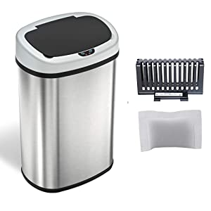 iTouchless 13 gallon Sensorcan Touchless Trash Can with Odor-Absorbing Filter, Stainless Steel, Oval Shape, 49 Liter Kitchen Bin with Sensor-Activated Lid
