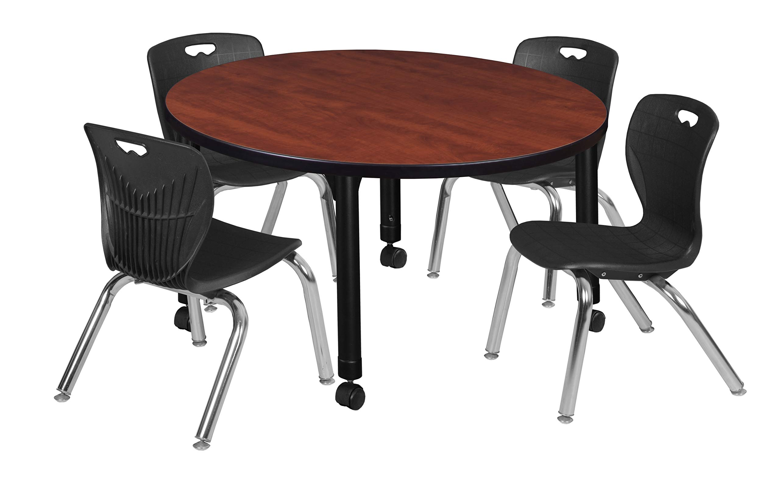 Regency TB42RNDCHAPCBK45BK Kee Height Adjustable Mobile Classroom Table Set with Four 12'' Andy Chairs 42'' Cherry/Black