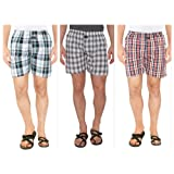 Nick&Jess Mens Multicheckered 100% Cotton Boxer Shorts(STEALDEAL-Pack of 3)