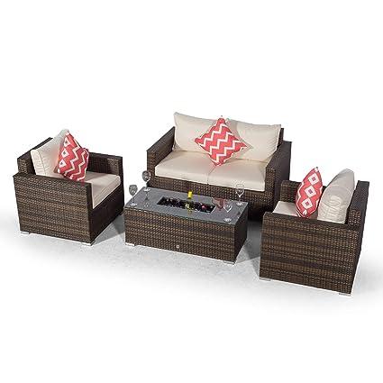 Set Giardino In Rattan.Giardino Sydney 4 Seater Brown Rattan Conversation Sofa Set
