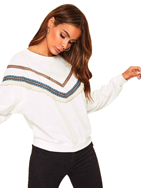 SweatyRocks Womens Casual Sweatshirts Crewneck Long Sleeve Color Block Sweatshirt Pullover Tops