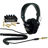 Sony MDR7506 Folding Professional Closed Ear Headphones with Knox Gear Compact 4-Channel Stereo Headphone Amplifier Bundle (2