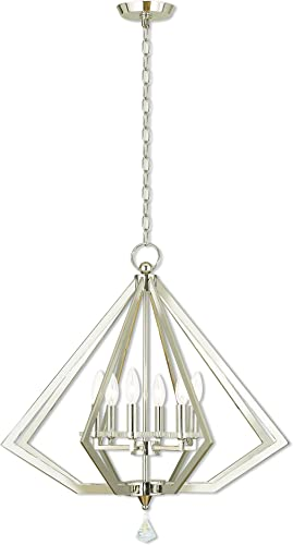 Livex Lighting 50666-35 Diamond 6 Light Polished Nickel Chandelier