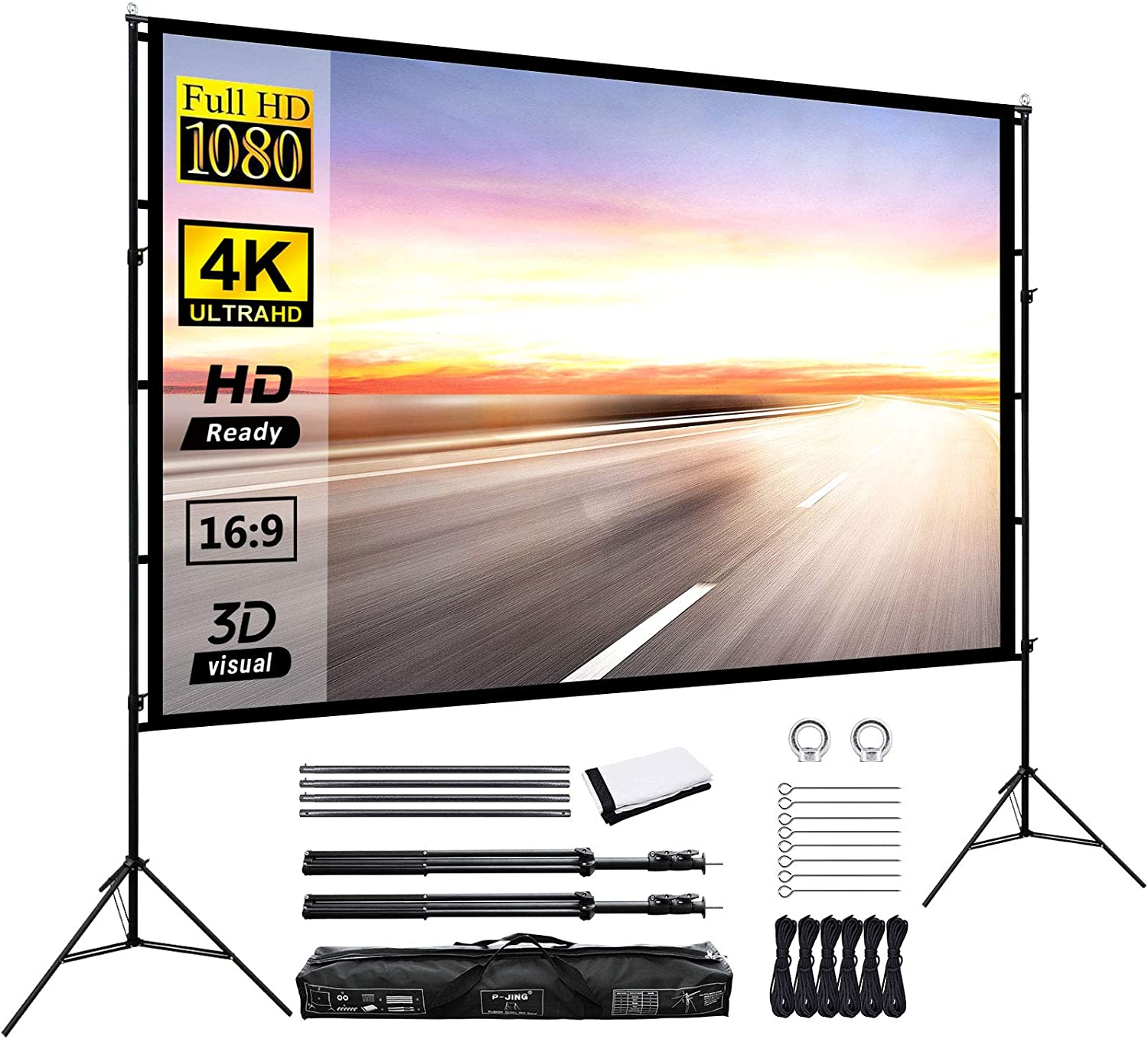 Projector Screen with Stand 120inch Portable Projection Screen 16:9 4K HD Rear Front Projections Movies Screen for Indoor Outdoor Home Theater Backyard Cinema Trave