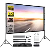 Projector Screen with Stand 120inch Portable Projection Screen 16:9 4K HD Rear Front Projections Movies Screen for Indoor Out