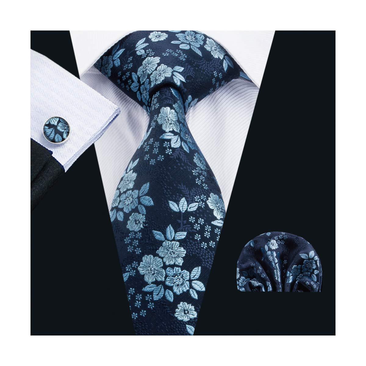 Barry.Pa/ñuelo de bolsillo de corbata de seda azul Wang para hombre Corbata a rayas con gemelos