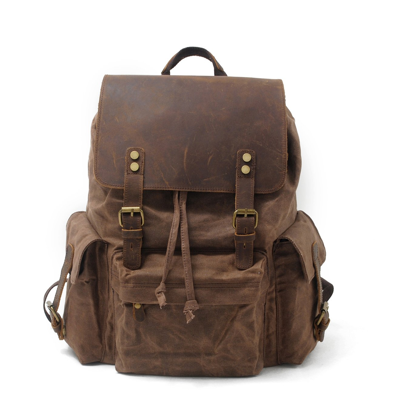 H-ANDYBAG Waxed Canvas Bag Rucksack Backpack Men & Women Coffee15.6 Inch Laptop