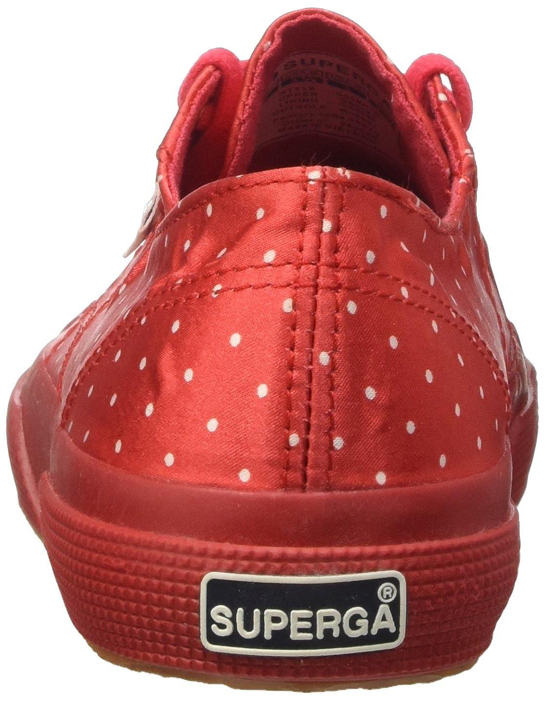 Superga 2750-Dotssatinw,  a Collo Donna Basso Donna Collo Red-dots White 221d58