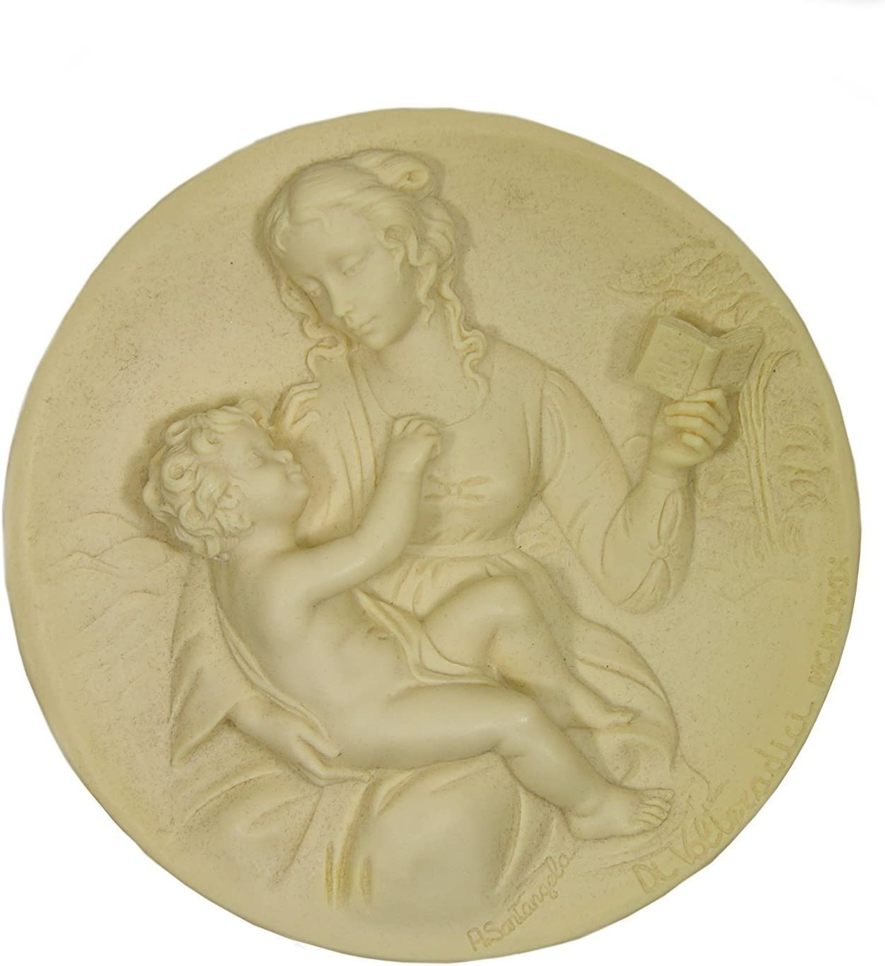 Bradford Exchange The Serene Madonna By A Santangela Handcrafted Solid Ivory Alabaster Plate 1979 Home Kitchen Amazon Com