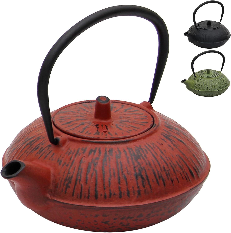 Deuba Tetera de Hierro Fundido colador para té de Acero Inoxidable -1100 ml- Forma y diseño Tradicionales japoneses- Revestimiento de Esmalte Color Rojo