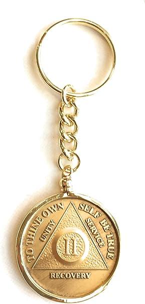 Amazon.com: AA NA Medallón Llavero chip Holder bañados en ...