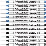 Unibene Montblanc Compatible Gel Ink Rollerball Refills 12 Pack, 0.7mm Medium Point - 6 Black&6 Blue, Rolling Ball Refills Fit Mont Blanc Rollerball/Fineliner Pen