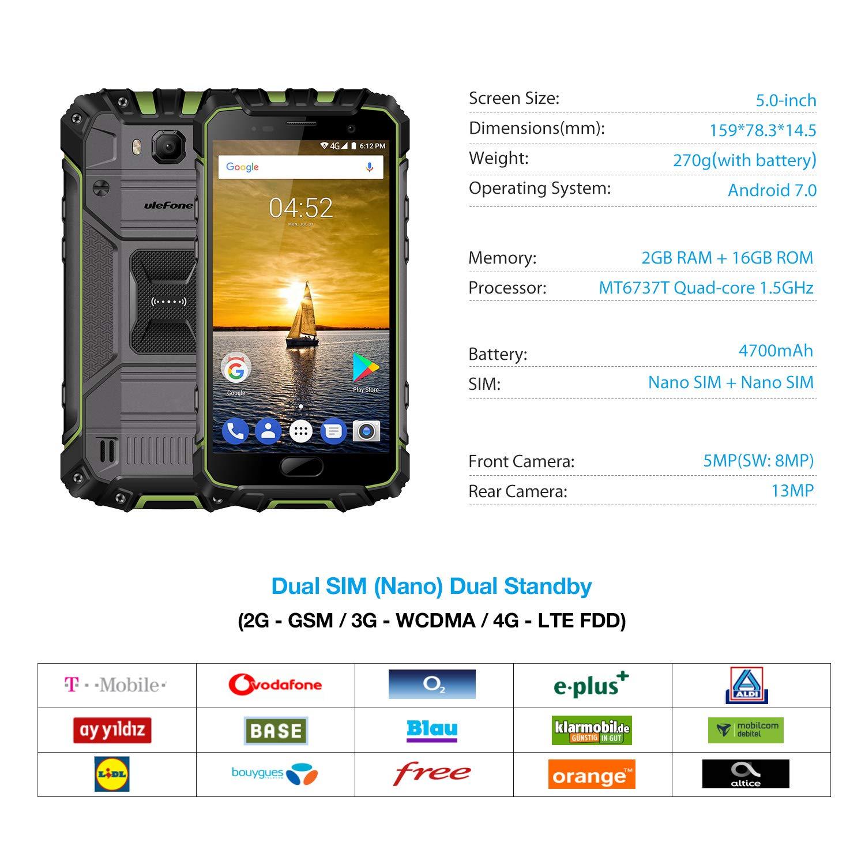 Ulefone Armor 2S Outdoor Smartphone Libre Pantalla FHD de 5 Pulgadas con Corning Vidrio 3, Quad Core Procesador, 2GB RAM + 16GB ROM, Cámaras Impermeables de ...
