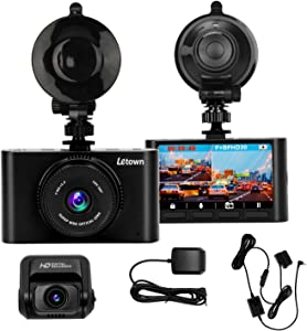 Car Dash Cam LT-9 1080P Front+1080P Rear(4k Single Front) Dual Channel Dashboard Camera Night Vision Driving Recorder with G-Sensor GPS OBD Power Loop Recording Park Monitor 128GB Max