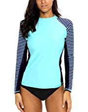 CharmLeaks Women's Long Sleeve Rashguard UPF 50 Sun Protection Swimsuit Top Striped Swim Shirts