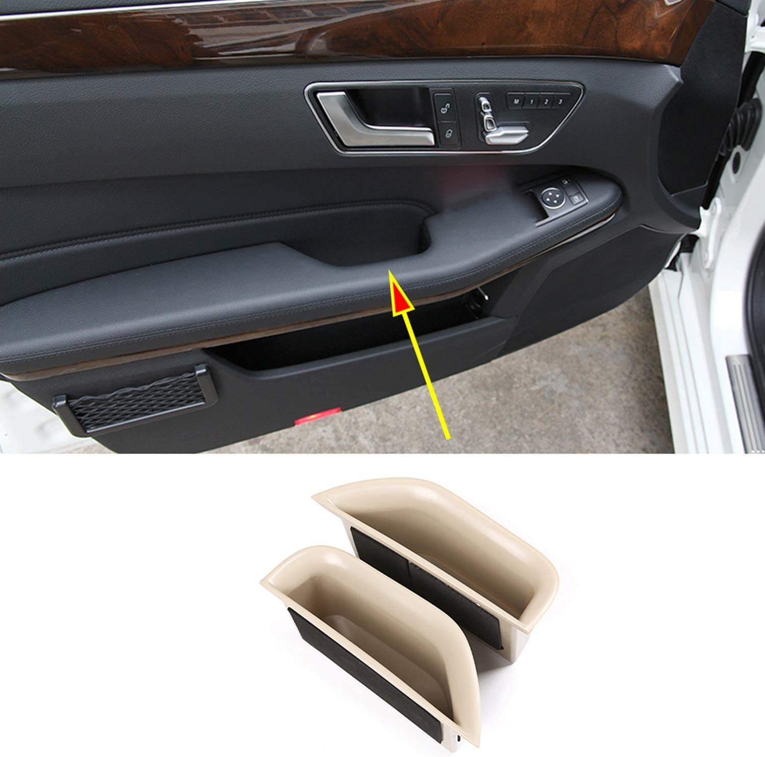 Nrpfell for Mercedes E Class W212 2008-2015 Front Inner Door Armrest Storage Box Container Holder Car Accessories