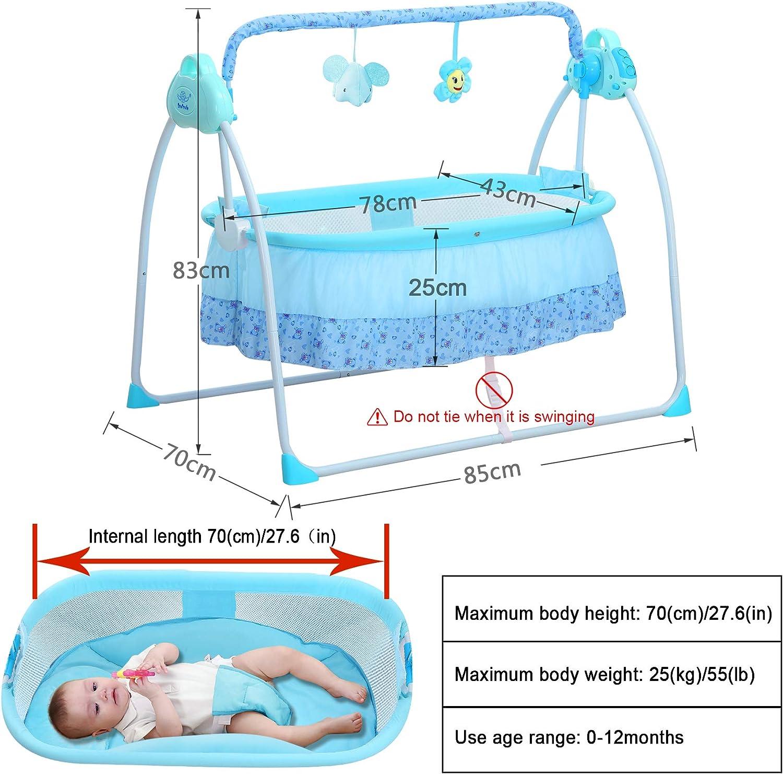 blu SANPLO Culla elettrica Culla per neonati Culla per culla automatica Culla per neonati a dondolo multifunzione Culla per neonati