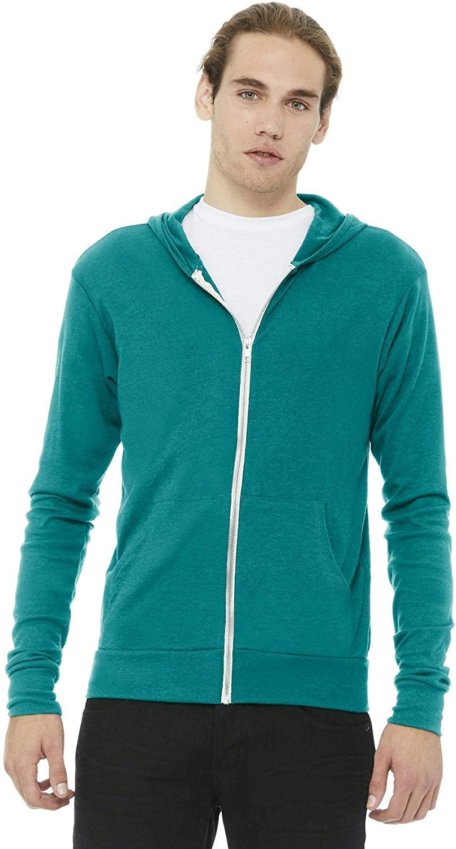 Bella + Canvas Unisex Triblend Full-Zip Lightweight Hoodie: Bella+Canvas: Clothing