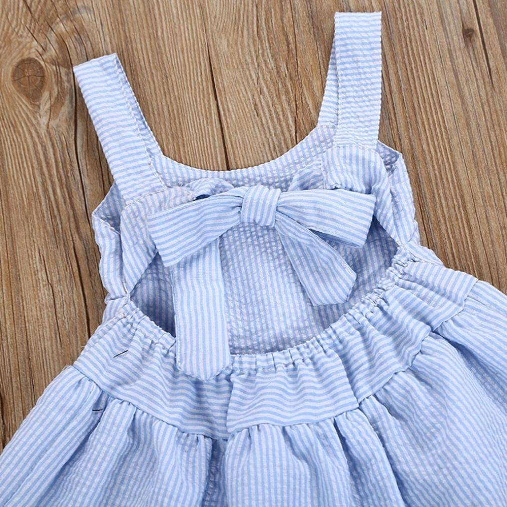 Jchen for 0-5 T Girls, Toddler Kids Baby Girl Summer Beach Playwear Dress Stripe Lace Party Pageant Princess Dresses TM