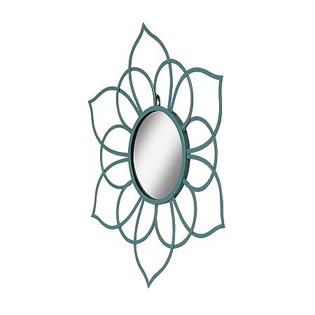Kate and Laurel Brienne Metal Flower Round Wall Mirror, 24 Diameter, Teal