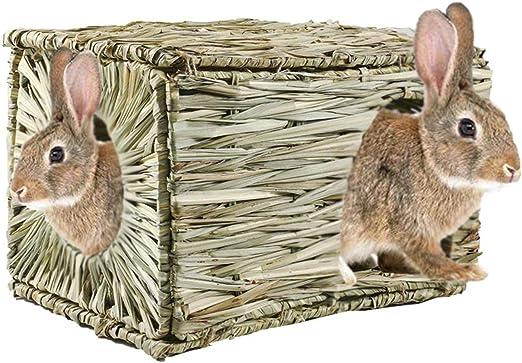 MOFunny Casa de césped de Conejo, Hecho a Mano de Hierba