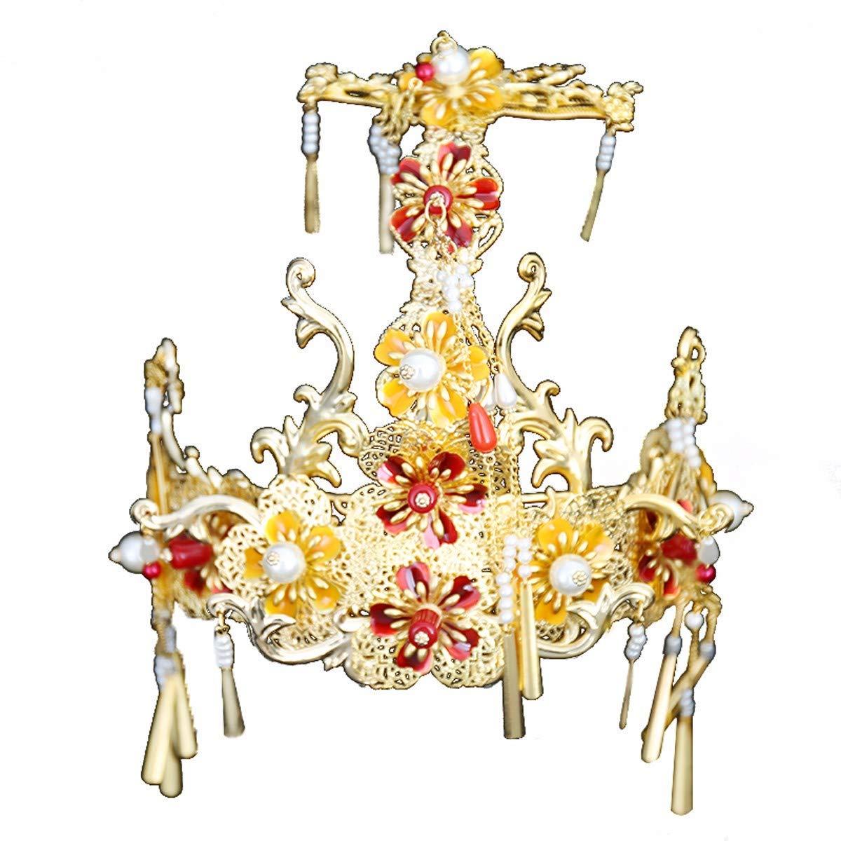 Girls Crown, Beautiful headdress/Bridal Headwear Xiu Wo Ancient Costume Accessories Set Chinese Retro Style Phoenix Crown Show Dress And Wedding Accessories.