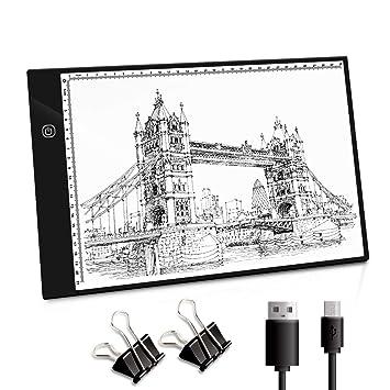 NONZERS Mesa de Luz A4, Portátil LED de Luz A4 Tableta con USB ...
