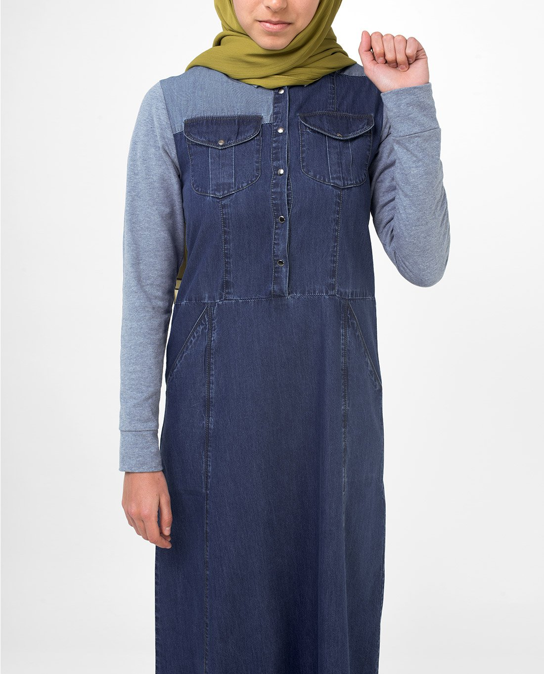 Silk Route Grey Contrast Fine Denim Maxi Dress Jilbab Medium 56 by Silk Route (Image #4)