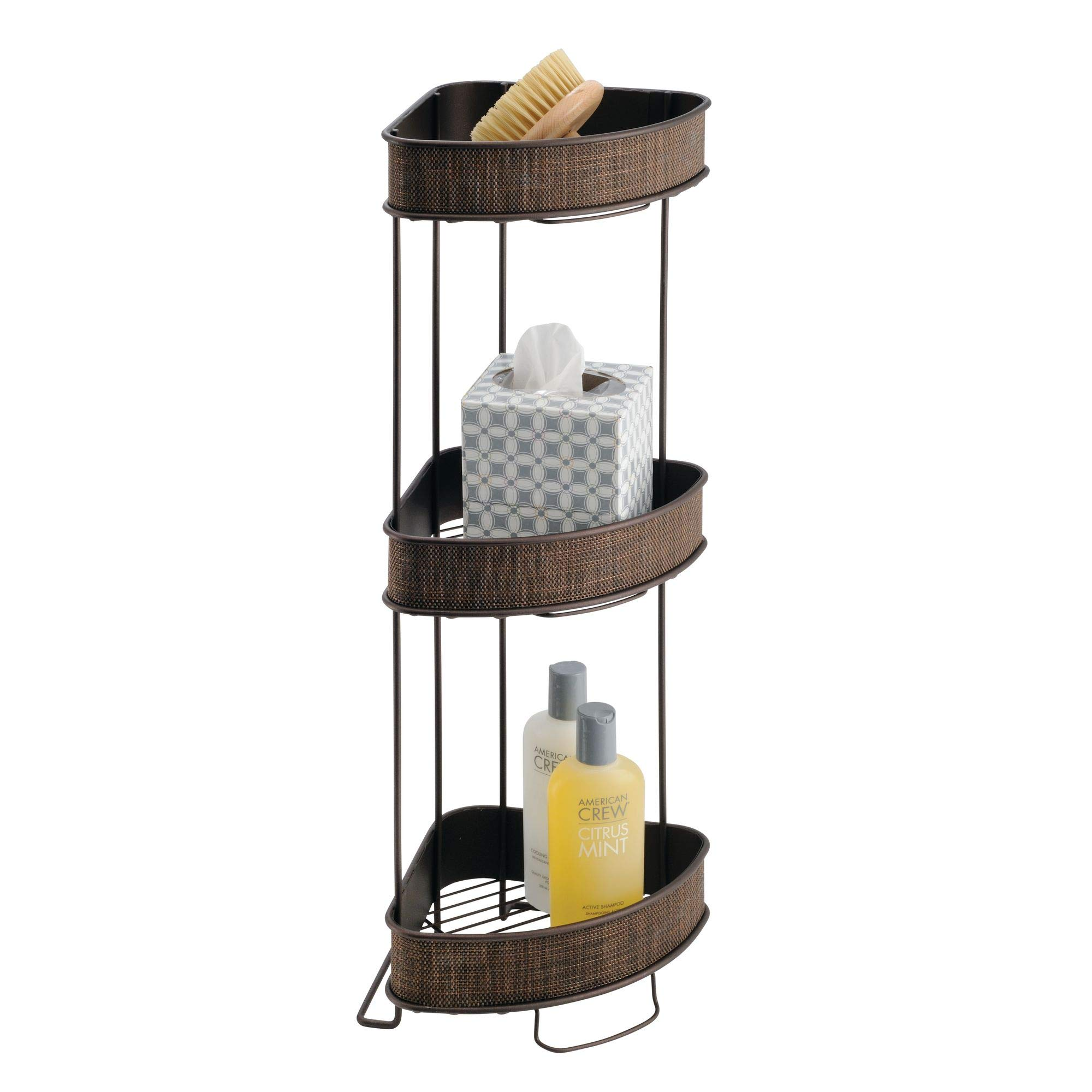 iDesign Twillo Metal Wire Corner Standing Shower Caddy 3-Tier Bath Shelf Baskets for Towels, Soap, Shampoo, Lotion, Accessories, Bronze by iDesign