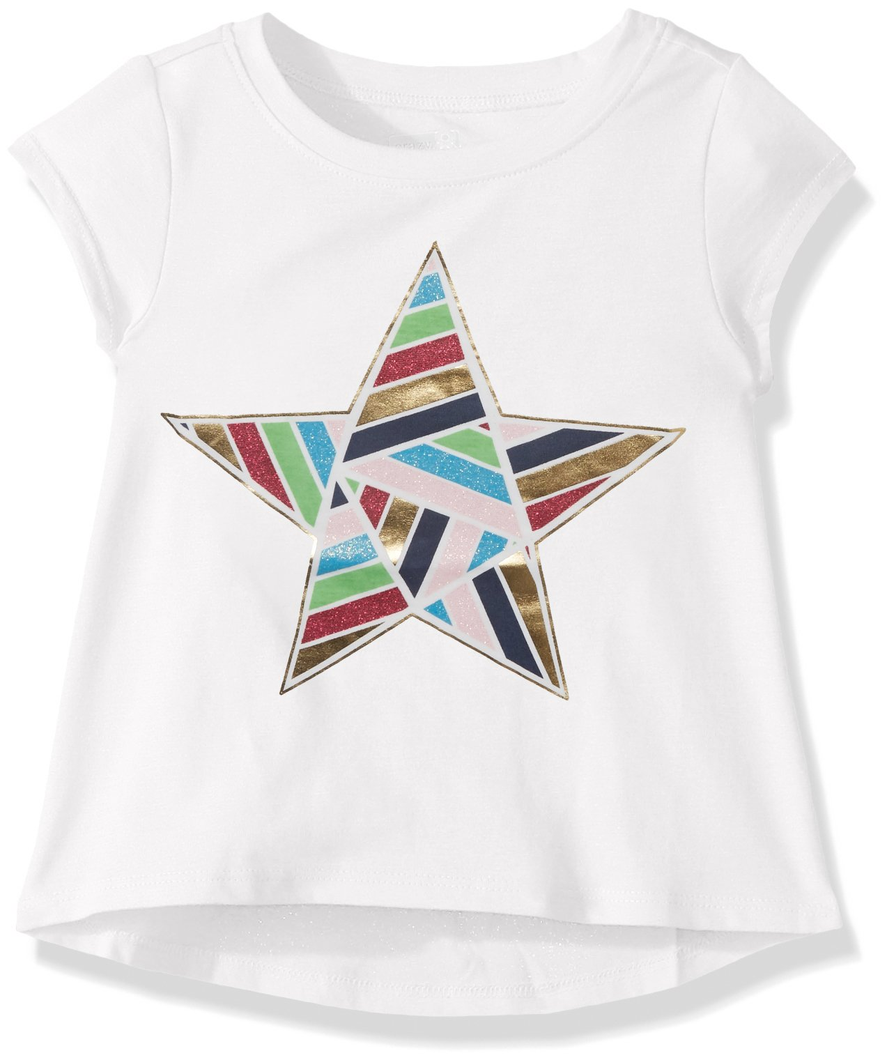 Crazy 8 Girls' Toddler Short-Sleeve Drapey Graphic Tee, White 2T