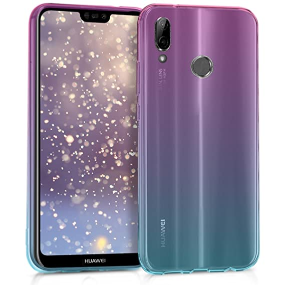 kwmobile Case for Huawei P20 Lite - Clear TPU Soft Phone Cover - Bicolor Design, Dark Pink/Blue/Transparent