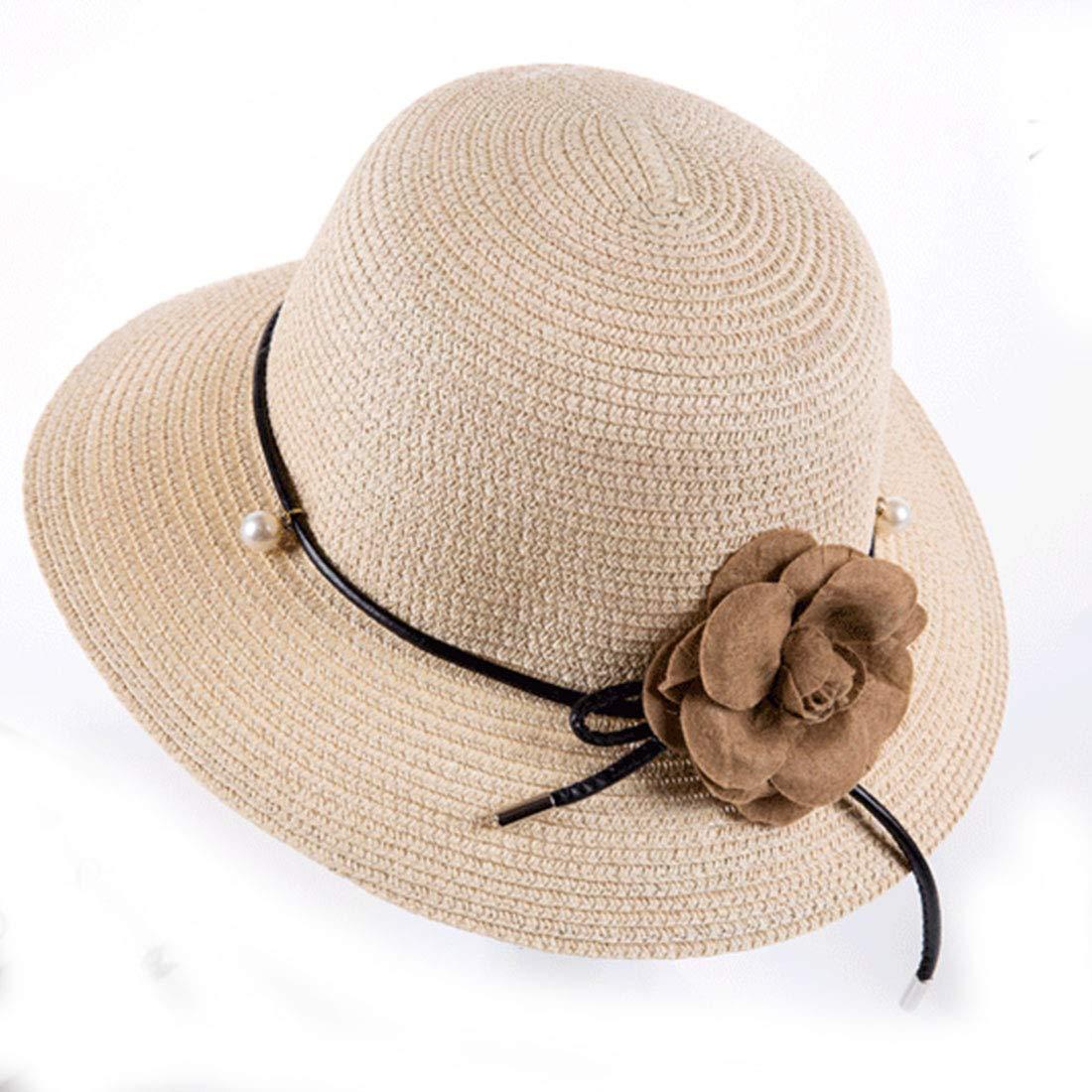 Wide Brim Straw Floppy Sun Hats for Women Travel Flower Packable Beach Hat Beige