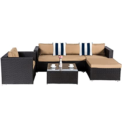 Fine Cloud Mountain 6 Piece Rattan Wicker Furniture Set Outdoor Patio Garden Sectional Sofa Set Cushions Navy White Stripe Pillows Black Uwap Interior Chair Design Uwaporg