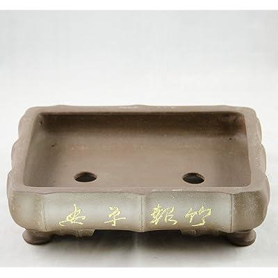 """Etched Rectangular Bamboo-Shaped Yixing Zisha Bonsai Pot 10""""x 7.5""""x 2.5"""": Garden & Outdoor"""