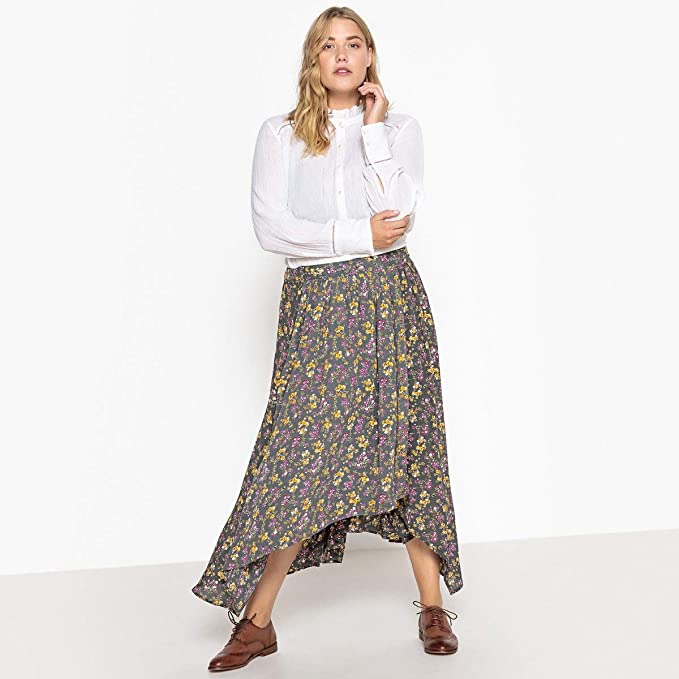 57ed2aa1fd La Redoute Castaluna Womens Floral Print Pleated Maxi Skirt at Amazon  Women's Clothing store: