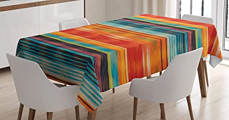 Mexican Decorations Tablecloth By Ambesonne Vibrant Vintage Aztec Motif With Gradient Blurred Lines Ecuador Crafts