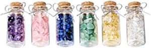PESOENTH 6 Mini Healing Crystals and Gemstones Glass Bottles Tumbled Crushed Chips Stones Set with Wooden Box for Reiki Chakra, Balancing, Meditation, Wicca, Wish Luck Decoration,DIY Jewelry Making