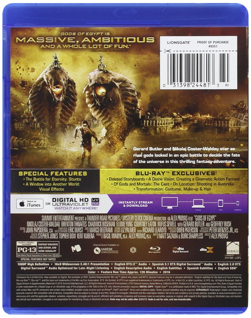 9cf4532911a Amazon.com  Gods Of Egypt  Bluray + Digital HD   Blu-ray   Nikolaj  Coster-Waldau