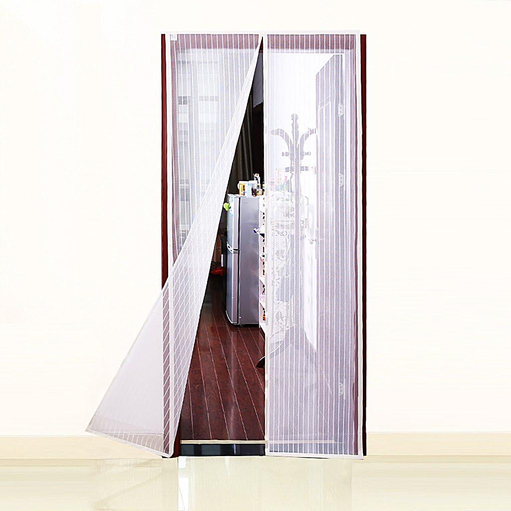 """Fits Door Openings Up to 34/""""x82/"""" Max White Magnetic Fly Screen Door"""