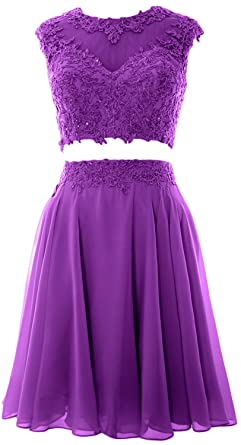 MACloth Women Vintage 2 Piece Prom Homecoming Dress Lace Wedding Party Gown  (2, Amethyst