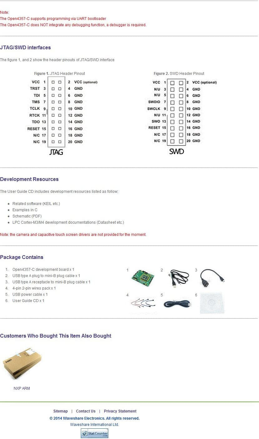 Waveshare Open4357-C Standard NXP LPC LPC4357 Development Board LPC4357FET256 ARM LPC Cortex-M4//M0 Dual Core Kit