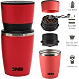 All in ONE Travel Coffee Grinder Set Manual Coffee Grinder and Portable Coffee Brewer with Vacuum Sealed Tumbler Coffee Mug (Red)